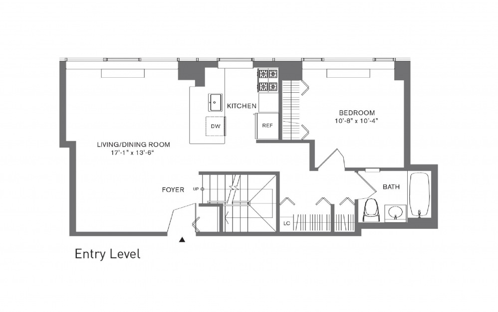 3 Bedroom A - 3 bedroom floorplan layout with 3 baths and 1708 to 1823 square feet. (Floor 1)