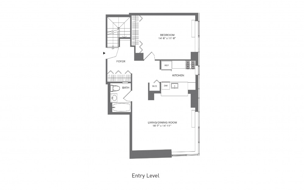 3 Bedroom B - 3 bedroom floorplan layout with 3 baths and 1708 to 1823 square feet. (Floor 1)