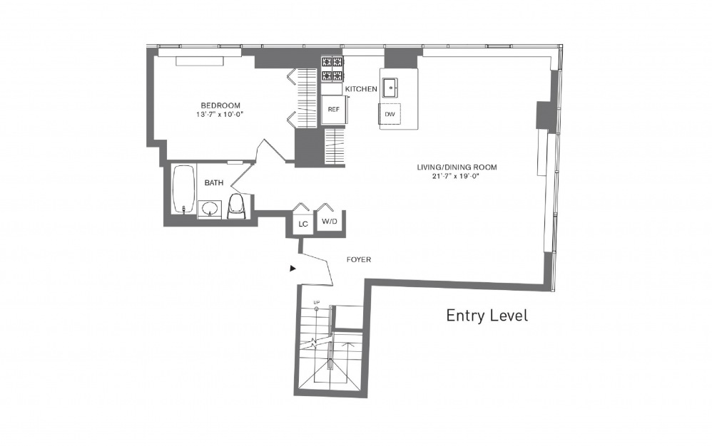 3 Bedroom C - 3 bedroom floorplan layout with 3 baths and 1708 to 1823 square feet. (Floor 1)