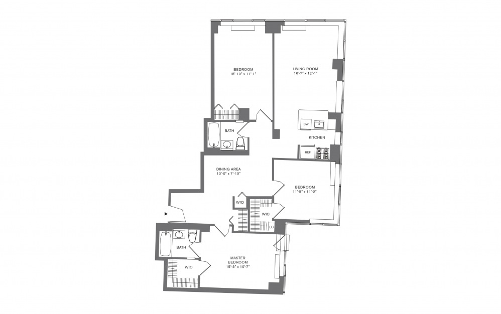 3 Bedroom E - 3 bedroom floorplan layout with 2 baths and 1708 to 1823 square feet.