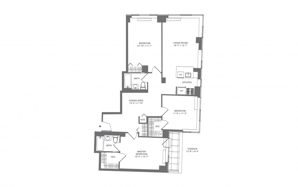 3 Bedroom G - 3 bedroom floorplan layout with 2 baths and 1708 to 1823 square feet.