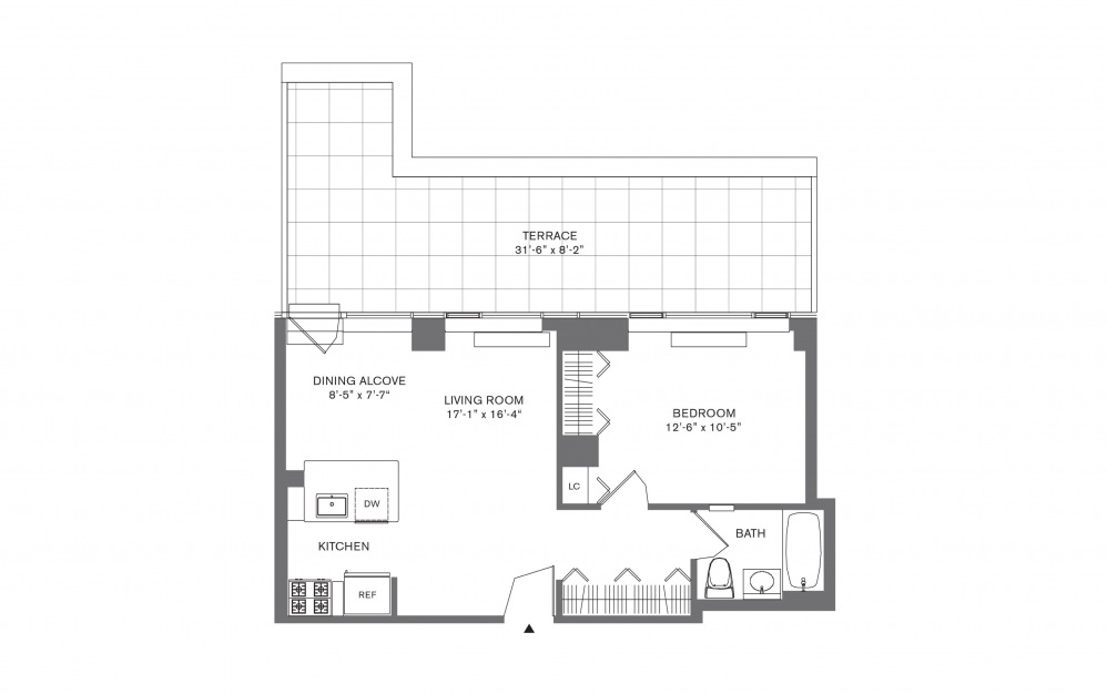 1 Bedroom A - 1 bedroom floorplan layout with 1 bath and 574 to 926 square feet.