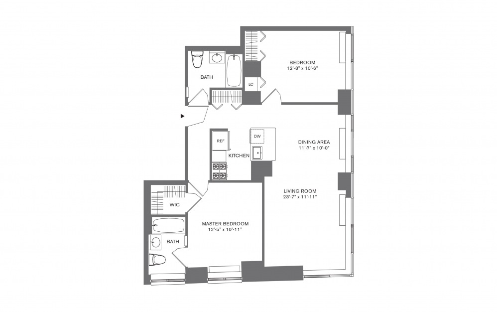 2 Bedroom A - 2 bedroom floorplan layout with 2 baths and 769 to 1103 square feet.