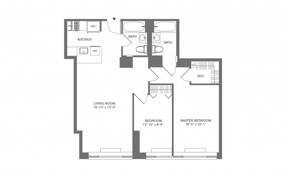 2 Bedroom C - 2 bedroom floorplan layout with 2 baths and 769 to 1103 square feet.