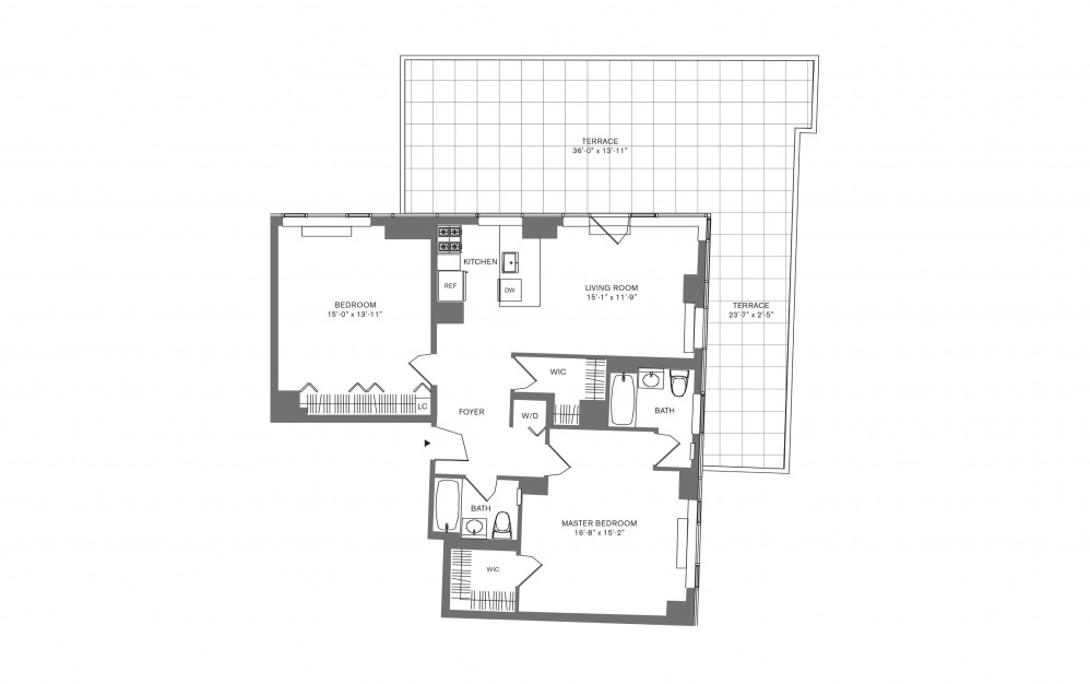 2 Bedroom D - 2 bedroom floorplan layout with 2 baths and 769 to 1103 square feet.