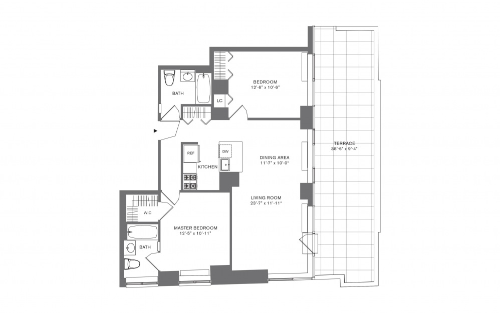 2 Bedroom E - 2 bedroom floorplan layout with 2 baths and 769 to 1103 square feet.