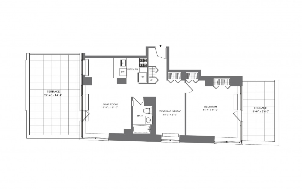 1 Bedroom C - 1 bedroom floorplan layout with 1 bath and 574 to 926 square feet.