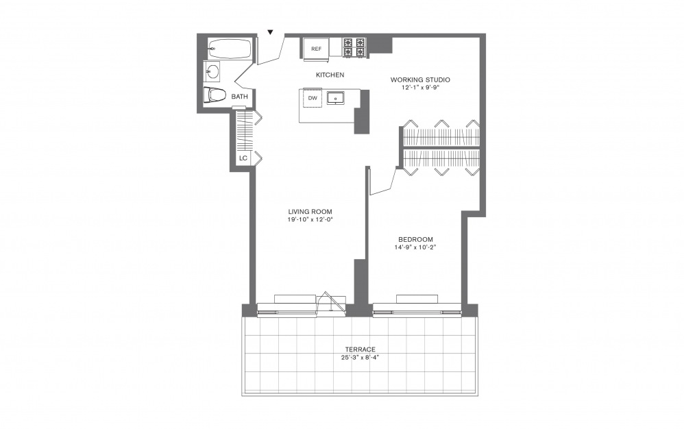 1 Bedroom D - 1 bedroom floorplan layout with 1 bath and 574 to 926 square feet.