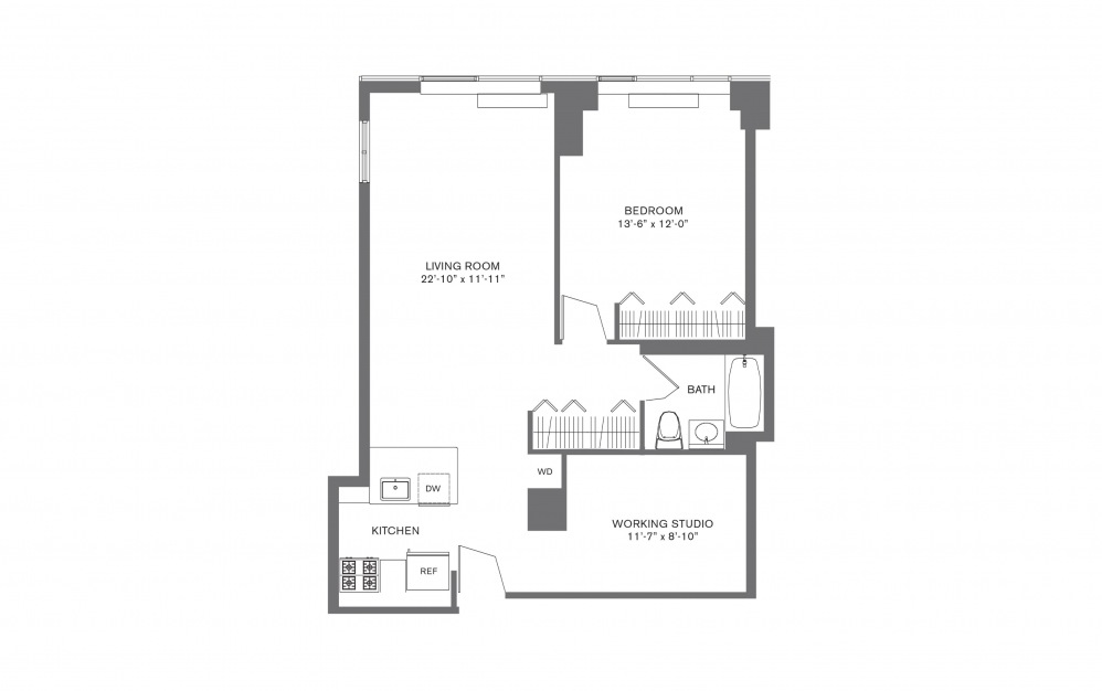 1 Bedroom E - 1 bedroom floorplan layout with 1 bath and 574 to 926 square feet.