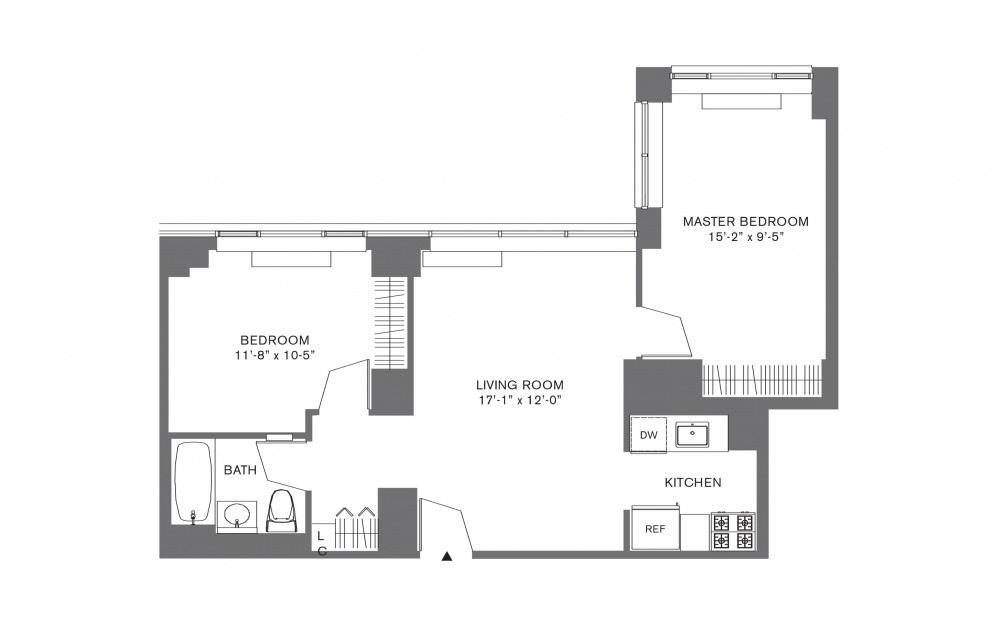 2 Bedroom F - 2 bedroom floorplan layout with 1 bath and 769 to 1103 square feet.