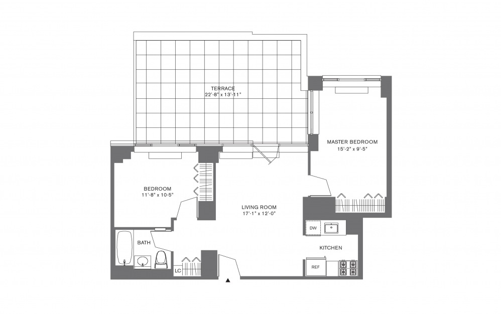 2 Bedroom G - 2 bedroom floorplan layout with 1 bath and 769 to 1103 square feet.