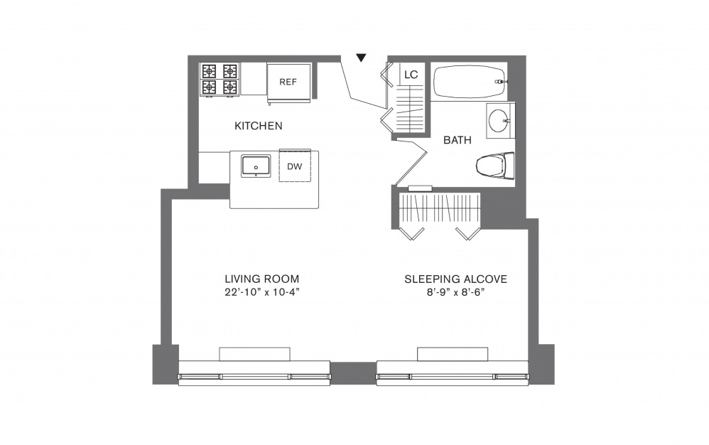 Studio D - Studio floorplan layout with 1 bath and 407 to 534 square feet.