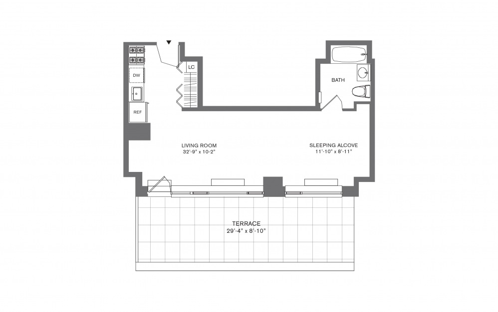 Studio E - Studio floorplan layout with 1 bath and 407 to 534 square feet.