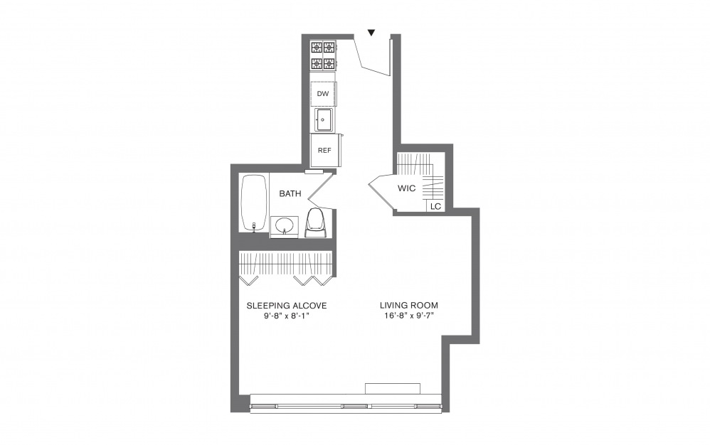 Studio F - Studio floorplan layout with 1 bath and 407 to 534 square feet.
