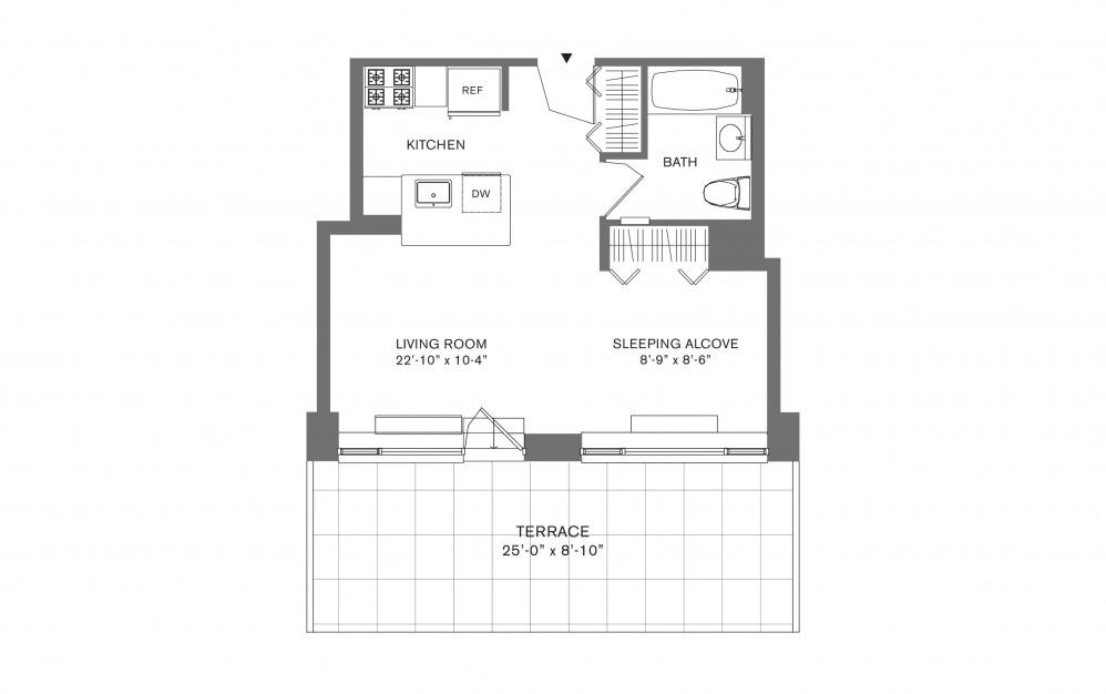 Studio G - Studio floorplan layout with 1 bath and 407 to 534 square feet.