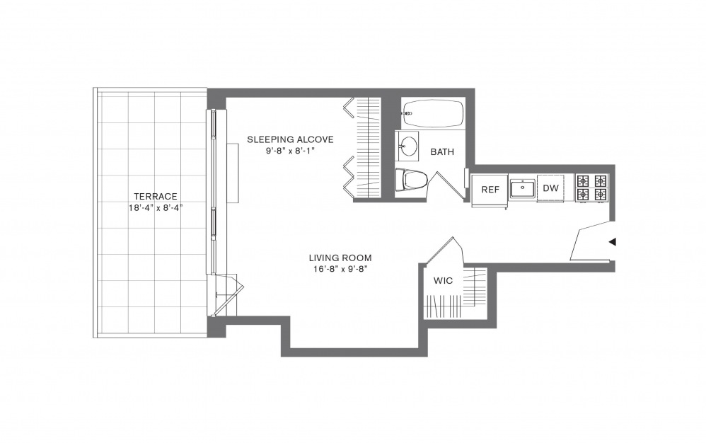 Studio A - Studio floorplan layout with 1 bath and 407 to 534 square feet.